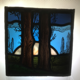 Beautiful Stained Glass Scenic Panel, Moon Rise.   Arts and Crafts Movement